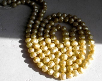 Faceted Yellow Freshwater Pearl Beads Light Butter Yellow for Beaded Jewelry Making June Birthstone Healing Stone