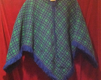 1960s Wool Cape with Fringe - Ponchos