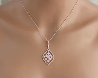 Rose gold Bridal necklace, Bridal jewelry, Crystal Wedding necklace, Swarovski necklace, Pendant necklace, Wedding jewelry, Bridesmaids gift