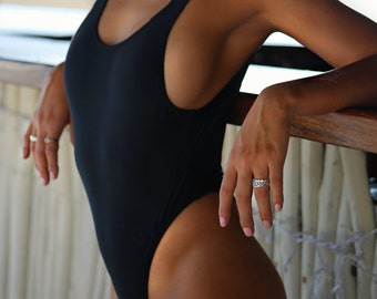 Black One Piece, High Cut Leg, Scoop Neck, Open Back - Brazilian Bottom - Cheeky Scrunch Butt -Quality Swimsuit Fabric (South Beach)