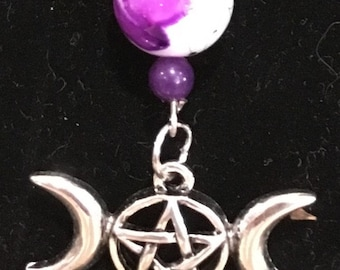 Triple Goddess Pendant and Pentacle Earrings with Purple Beads