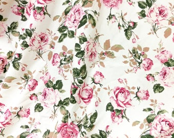 Quilt Cotton Fabric Chic Retro English Floral Pink Rose Ivory Fat Quarter Half Yard