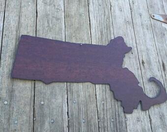 state of Massachusetts, Massechusetts wall hanging, rustic tin state of Massachusetts, Massachusetts decor, Massachusetts