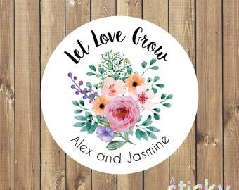 Personalized Let Love Grow Stickers, Let Love Grow Label, Seed Packet Label, Wedding Favour Sticker, Seed Label, Let Love Grow, Seed Wedding