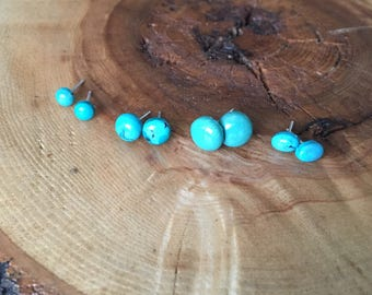 Turquoise Drops; sterling silver turquoise stud earrings, round turquoise stud earrings, oval turquoise earrings, stud earrings, cabochons