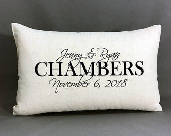 Personalized Wedding Pillow, Cotton Linen Home Decor Pillow, Bridal Shower, Anniversary, Wedding Gift, Personalized Names And Date