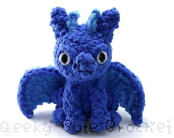 Blue Large Dragon Plush Toy Stuffed Animal Amigurumi Crochet