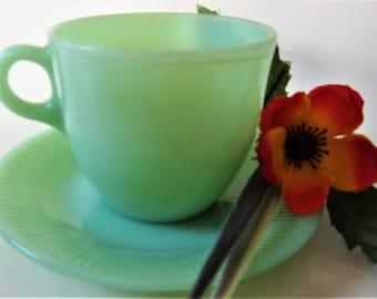 Vintage Fire King Jadeite Tea Cup RARE Small C Handle Version Glass Jadite Jane Ray Coffee Soft Green Luster Demitasse Ribbed Saucer
