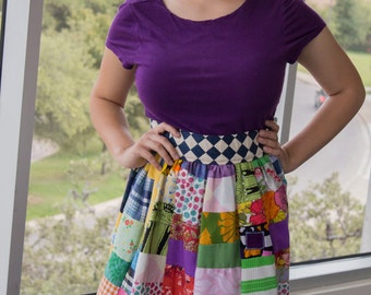 Patchwork Hippie Style High Waist Skirt made from Scraps