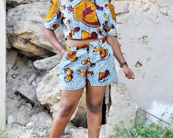 Tempte Kuku | Shorts and Crop Top Set | Plus Size African Print Shorts and Top