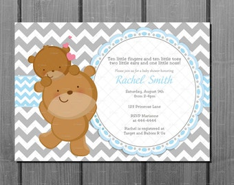 Blue and Grey Chevron Teddy Bear Boy Baby Shower Party Invitation and FREE Thank You Card Printable DIY