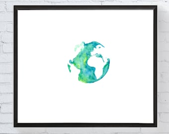 Watercolor Globe Painting // Watercolor Map Painting // Travel Art // Wanderlust Art // Travel Paintings // World Map Art