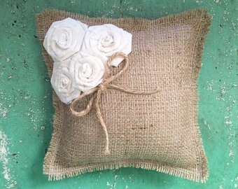 """8"""" x 8"""" Natural Burlap Ring Bearer Pillow With Off-White Rosettes/Jute Twine Detail- CUSTOM COLORS Available-Barn Wedding/Rustic/Country"""