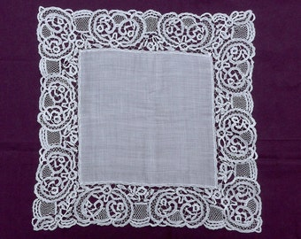 Honiton lace handkerchief, antique.  A lovely elegant hanky, it is square & made of lawn.  c1890's.