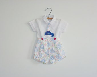 Vintage Baby Boys Baseball Outfit