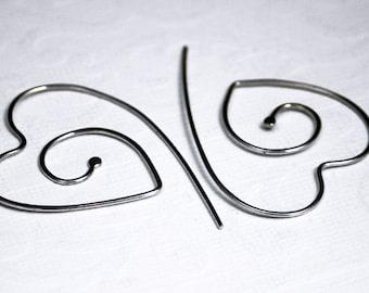 Heart earrings, wire hoop earrings, heart hoop earrings, eco friendly, women, bridesmaid gift, bridal, gift, handmade, unique, hoop earrings