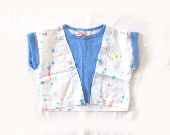 vintage girls shirt children's clothing 1980s paint splatter novelty rainbow colors blue size 5 6