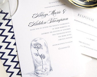 Beauty and the Beast, Fairytale Wedding Invitation, Wedding Stationery, Invitation & Paper (Set of 10 Invitations, RSVP Cards + Envelopes)