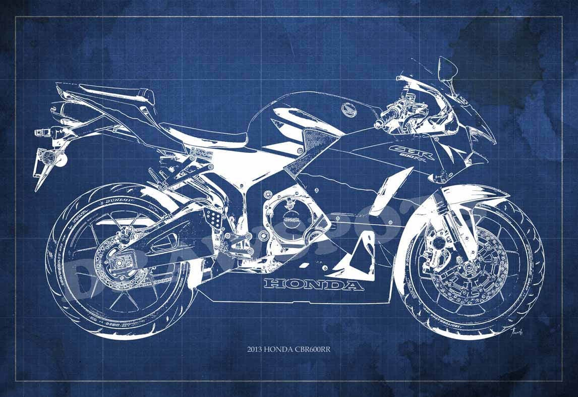 Motorcycle poster 2013 HONDA CBR600RR clean Blueprint Art