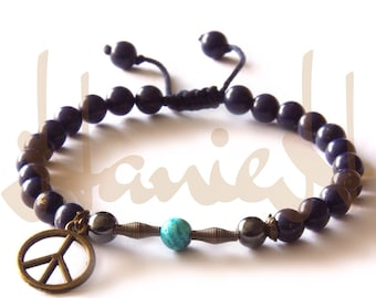 bracelets with blue navy jade beads and turquoise and peace sign for men and women