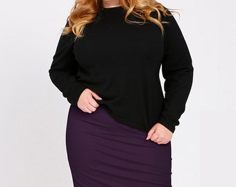 OLIVIA Plus Size Pencil Skirt, Curvy Career wear, Ponte Stretch Knit in Mulberry Purple, Slimming Straight Skirt