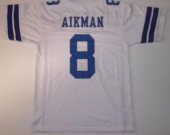 Dallas Cowboys Troy Aikman UNSIGNED CUSTOM Made White Jersey