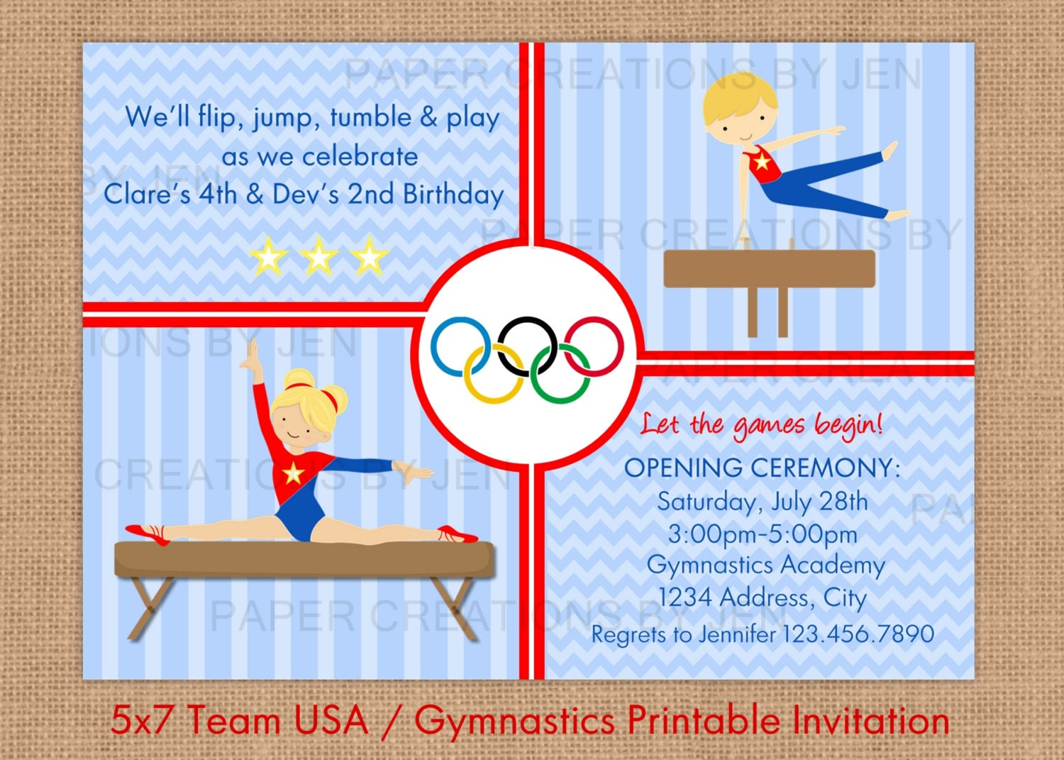 Gymnastics printable birthday invitation