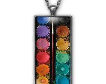 Watercolors Artist Paint Brush Set Silver Plated Rectangle Pendant Necklace Jewelry