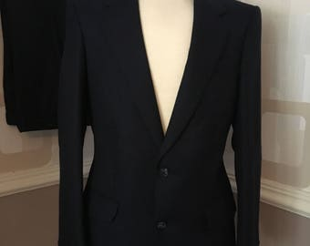 Vintage 60s wool navy suit, retro mad men style, navy blue tailored, single breasted, swing, indie, mod,