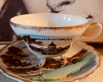 Vintage cool Washington DC classic White House KITCH small plate and tea cup road trip souvenir state collectible cool road trip home decor