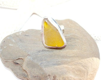 Sterling Sea Glass Ring,  RARE Yellow  Ring,  SIZE 8 1/2  Ring, Beach Jewelry, FREE Shipping inside the United States
