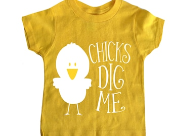 Easter Shirt Chicks Dig Me Boy Toddler Shirt Yellow
