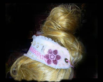 Boho headband , fabric headband , ponytail cover , gypsy head piece , adult headband , hair accessories , # 138