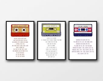 Set of 3 The Cure Lyrics - Unframed Prints