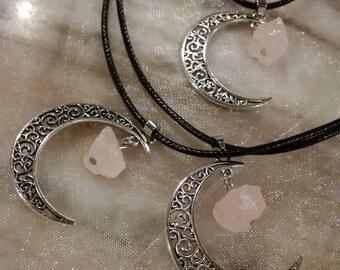 Rose Quartz moon necklace