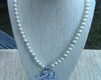 Elephant Pendant Necklace, Beaded Pendant Necklace, Elephant Necklace
