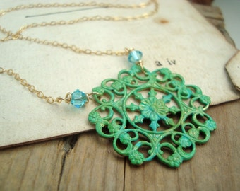 Green Filigree and Crystal Necklace Hand Painted Brass Jewelry Vintage Style Aqua Green Mothers Day Jewelry Bridesmaid Jewelry