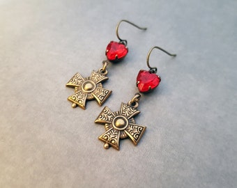 Gothic Jewelry Sacred Heart Earrings Bright Red Heart Maltese Cross Medieval Renaissance Love Symbol Victorian Catholique Antique Brass