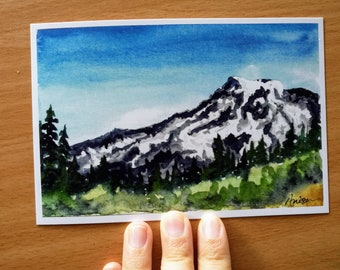 Mount Rainier Watercolor Landscape Print, Pacific Northwest, Cascade Mountains, Evergreen Trees, Pine Trees, Alpine Scenery, Decor, Wall Art