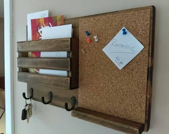 Corkboard Mail Organizer, Mail Holder, Mail,  Rustic Organizer, Key Holder, Mail Organizer, Personalized Option Available