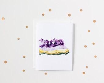 Watercolour Amethyst Gemstone Blank Greeting Card