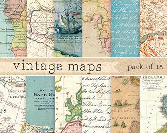 Vintage maps digital paper: retro texture with vintage and antique maps of africa, europe, america, world for scrapbooking, invites, cards