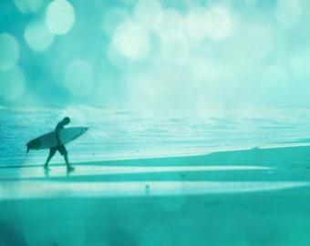 Surf Art Beach Print  - Bokeh Blue Aqua Surfer Silhouette Whimsical Surreal Beach House Wall Art Home Decor Photograph