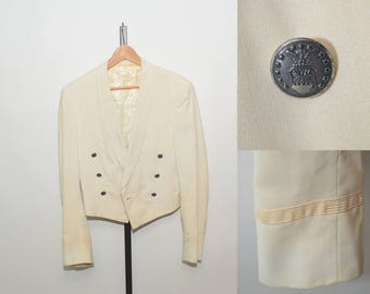 Vtg Cream Cropped Jacket Coat 50s Military Tux Coat Structured Blazer Army USAF Air Force Uniform Mess Jacket