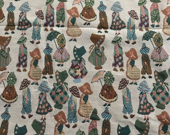 Tapestry FABRIC~Sunbonnet Sue + Sam figural print~54x59~pillow upholstery~Sweet!