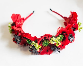 """Ukrainian wreath out of ribbonis a Decoration of hair """"Red poppy ribbon"""" - the Colors of the beltsat Macy's."""