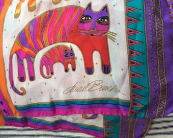 VINTAGE LAUREL BURCH Scarf, vintage feline art, colorful cats, collectible scarves, wearable art