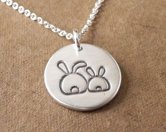 Small Mother and Baby Rabbit Necklace, Bunny Jewelry, New Mom Necklace, Fine Silver, Sterling Silver Chain, Made To Order