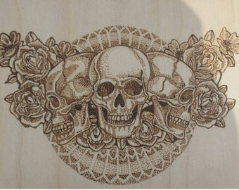 Dotwork skulls and roses wood burning