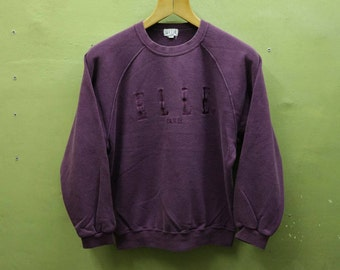 Vintage Elle Paris Sweatshirt Big Spell Out Jumper Streetwear Designer Urban Fashion Sweater Size 160A S y0QC7wSZTQ